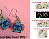 Tsum Scrump and Stitch Earrings -CHOICE- Handmade Steel Hypoallergenic Leverback French Hook Post Pierced OR Clip On