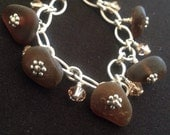 Genuine dk brown sea glass charm bracelet with swarboski crystals on sterling silver heavy chain