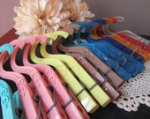Vintage Hanger Clothespins Lot of 15 1950's  Mostly Naltex Multi Color Solid and Clear Austin Texas  Laundry Room Accessories