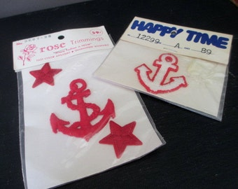 Vintage Nautical Appliques Set of 2  Anchor Stars Red White  New in Package Rose Import and Happy time