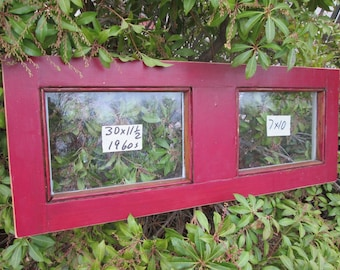 30 x 11-1/2 Vintage Window sash old DOOR TOP 2 pane  from 1960s