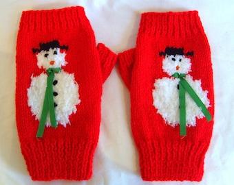 Fluffy Snowman Fingerless Mitts