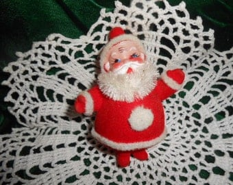 "Vintage Flocked Santa-4"" Tall"
