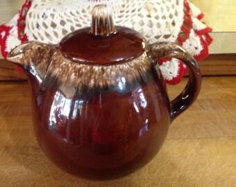 Vintage Hull Teapot With Brown Drip Glaze Stoneware Pottery USA