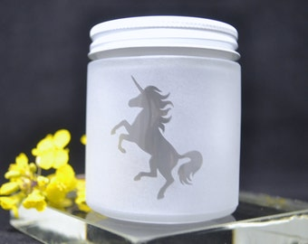 Glass Jar, Sandblasted Unicorn Glass Jar, Stash Jar, Sand Etched Jar, Spice Jar, Frosted Glass Jar, Baby Food Jar