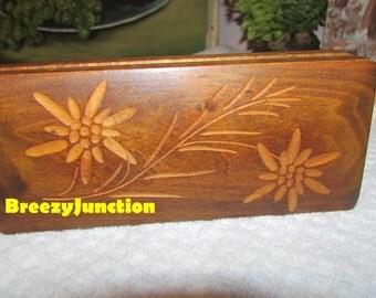 Wood Box, Jewelry Box, Small Wood Box, Flowers, 4 Trays Inside, Trinkets, Folk Art, Primitive, Boho Decor ~ BreezyJunction.etsy.com