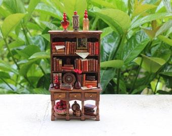 Dollhouse miniature red bookcase OOAK
