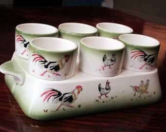 Vintage French Porcelain Chicken Rooster Egg Holder - Comes with Six Matching Egg Cups - Country Kitchen Farmhouse  - Likely Sarreguemines