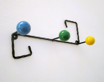 Original Mid Century 1950s Vintage French Atomic 3 Ball Coat & Hat Rack -Vintage Coat Rack-Space Saving- Iron Base -Art for your wall