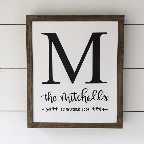 Personalized Last Name Wood Signs- Framed