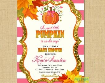 Little Pumpkin on the way Baby Shower Invitation, pink pumpkin shower invite, lilac pumpkin, girl pumpkin baby, fall baby girl shower invite