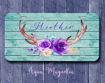 Purple Floral Deer Antlers, Vintage, Boho, Weathered Wood - Personalized - License Plate - Aluminum - Monogrammed