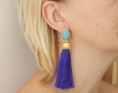 tassel earrings turquoise blue and purple  matte gold plated jewelry tassels dangle post stud unique jewelry