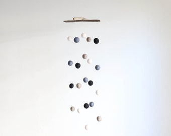 Felt Balls Mobile with Driftwood -- Grey, White, Beige and Black -- Rustic Nursery Mobile -- Ready to Ship