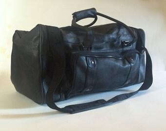 Vintage Black Pleather Vegan Leather Duffel Luggage Bag