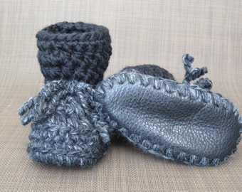Charcoal and Black Baby Toddler Child Crochet SHEEPSKIN Booties and Crochet Sheepskin Slippers with Leather and Sheepskin Shearling Sole