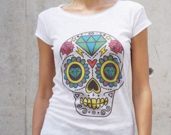 "NEW COLLECTION  White Cotton  ""Colorful Skull"" Tee / HandMade White  T-Shirt / Casual top with short sleeevs by Aakasha Top, (0328) A22433"