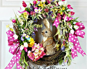 Easter Bunny Grapevine Wreath, Spring Tulip Wreath, Bunny Rabbit w Easter Eggs, Pink Door Wreath, Polk A Dot Ribbon, Wild Flowers, Gifts