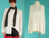 Vintage 90s Velour Shirt - Sheer Sleeve Cream Blouse - Off White Sheer Blouse - Oversized Shirt - 90s Club Kid - Soft Grunge - Size Large