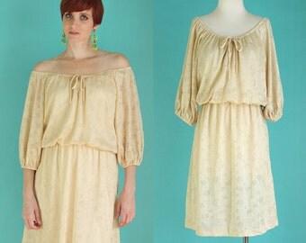 Vintage 70s Boho Dress - Floral Lace Dress - Sheer Dress - Off the Shoulder Gold Dress - Ivory Dress - Short Hippie Dress - Festival Dress