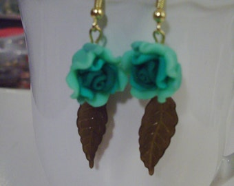 Green Rose Earrings - Free Shipping