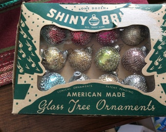 Shiny Brite Mesh Covered Miniature Ornaments and Box
