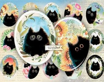 Black Cat - oval image - 30 x 40 mm - digital collage sheet - Printable Download