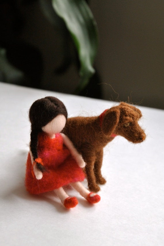 Special item for Amy Needle felted  : Dog on the moon