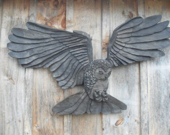 Vintage Owl Wood Carving