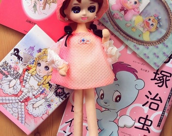 Cute Japanese vintage Pinky Rose Pose Doll / Bradley Doll / Big Eyed doll from Japan