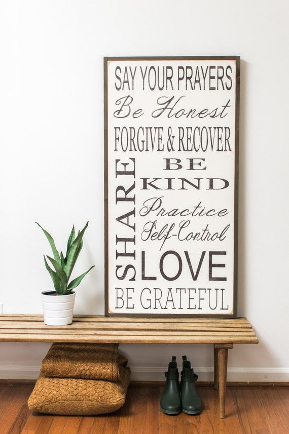 Family Rules Vertical Mixed Fonts Sign