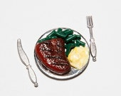 Miniature Food, Dollhouse Food, Food Miniatures, Dollhouse Miniatures, Dollhouse Miniature Food - 1:12 T-Bone Steak Dinner