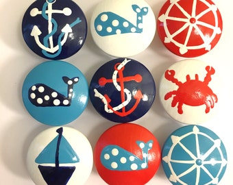 Hand Painted Nautical Drawer Knobs - Priced per knob