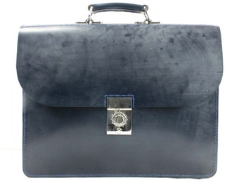 "English UK Segwick Bridle Leather Briefcase Navy Blue Palladium Lock  16"" x 12"" x 3"" - Marcellino NY - Ready To Ship"