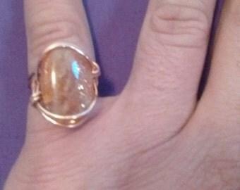 Handmade copper sunstone wire wrap ring, orange sunstone  ring copper, wire wrap ring in copper with indian sunstone, sunstone jewelry,gypsy