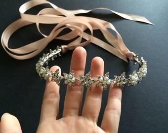 Sparkle stars and pearls wedding bridal jewelry headband Swarovski rhinestone crystals hair comb tiara