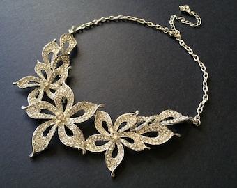 Sparkle romantic flowers Swarovski rhinestone crystals wedding bridal jewelry necklace forehead tiara, crystals necklace, bridal jewelry