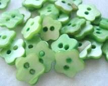 10mm Green Flower Shape Shell Buttons Pack Of 20 Green Shell Buttons S42
