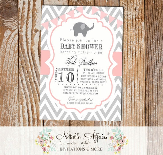 Gray And Light Pink Chevron With Elephant Modern Girl Baby Shower