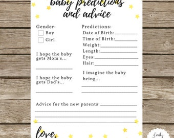 5x7 Twinkle Gender Neutral Baby Prediction Card - Matches Twinkle Themed Invite - Prediction Card for Baby Shower