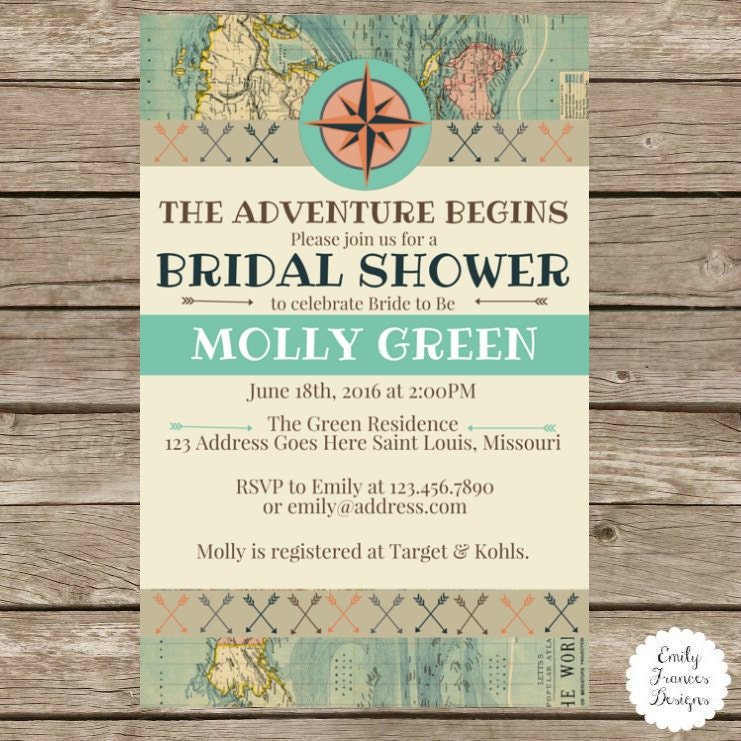5x7 travel themed bridal shower invitation by for Themed bridal shower invitations