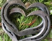 Horseshoe Heart - Personalized interlocking horseshoe hearts - Horseshoe hearts for Weddings, Valentines, Anniversary, Iron Anniversary