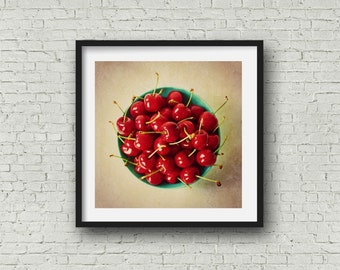 Bowl of Cherries Food Photography - Rustic Kitchen Decor - Red Kitchen Fine Art Print