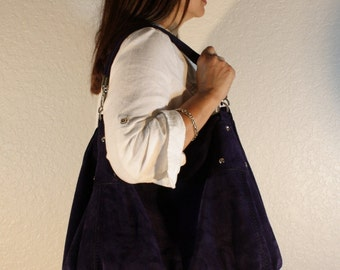 Velvet Suede Leather Bag / Leather Tote Bag / Oversize Bag / Big Bags / Everyday Bags / Soulder Bags