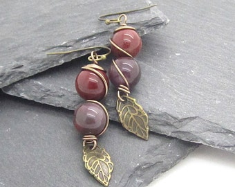 Mookaite Earrings, Gemstone Jewellery, Mookaite Drop Earrings, Earth Tones, Wire Wrapped Jewellery, Gemstone Drop Earrings, Antique Bronze