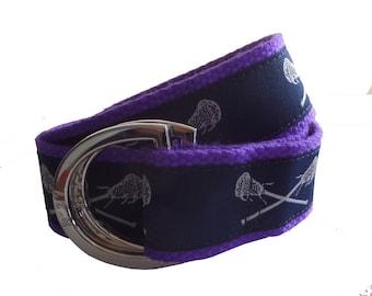 Lacrosse Belt / D-Ring Belt / Canvas Belt / Preppy Webbing Belt for Men, Women and Children/Navy Blue Lacrosse