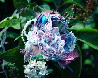pixy fairy corset WRIST CUFF bridal OOAK beaded feathers
