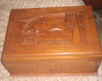 Vintage Hand Carved Wood Storage Box with Key