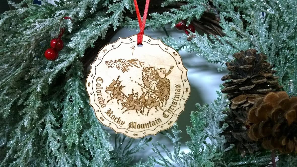 Colorado rocky mountain christmas ornament or souvenir