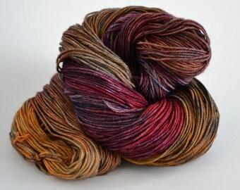 Hand dyed yarn pick your base - Little Burgundy - sw merino cashmere nylon fingering dk worsted
